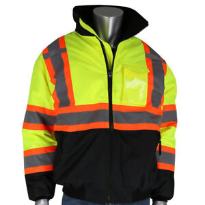 Pip Class 3 Reflective X back Safety Bomber Jacket With Liner Yellow lime