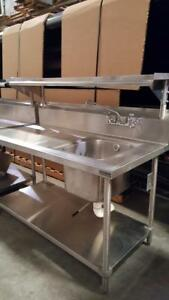 Stainless Steel 5 Wash prep Station W Sink Shelves