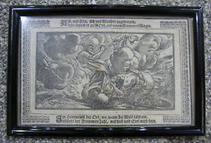 Antique German Woodblock Print 17thc Bible Old Testament Martin Luther