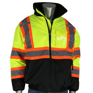 Pip Class 3 Reflective Black Bottom Safety Bomber Jacket Yellow lime