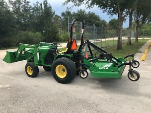 2002 John Deere 4110 4wd Tractor John Deere 410 Loader And Bush Hog Mower Deck