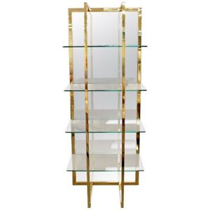 Mid Century Modern Brass Mirror Glass Shelving Unit Baughman Style 1970s 4 Shelf