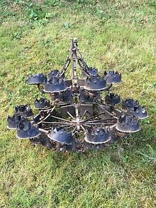 Antique Vintage Wrought Iron Gothic Spanish Mexican Mexico Boho Large Chandelie