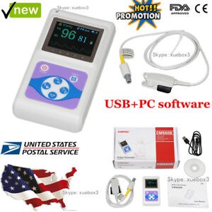 24hour Finger Pulse Oximeter Blood Oxygen Spo2 Heart Rate Monitor With Probe fda