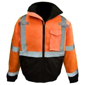 Radians Class 3 Reflective Safety Bomber Jacket With Quilted Liner Orange
