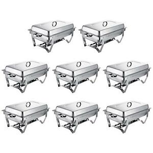 Buffet Chafer Dishes 8 Pack Full Size Catering 8 Qt Pan Warmer Kitchen Lid Tray