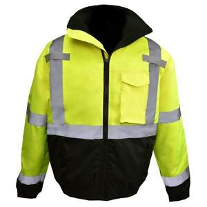 Radians Class 3 Reflective Safety Bomber Jacket With Quilted Liner Yellow lime