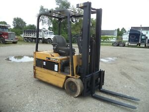 Caterpillar Ep20t 48a 4 000 4000 Cushion Tired 3 Wheel 48v Electric Forklift