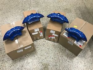 New Gm Oem Brembo 2009 13 Chevy Corvette Blue Zr1 Front Rear Brake Calipers