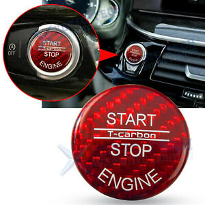 Red Carbon Fiber Cap Trim For Bmw Keyless Start Stop Button X5 X6 E70 E71 07 14