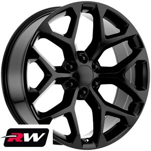 24 X10 Inch Chevy Tahoe Factory Style Wheels Snowflake Rims Gloss Black