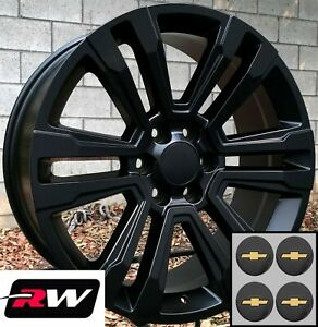 20 Inch Chevy Tahoe Factory Style Denali Wheels 2017 2018 Satin Black Rims