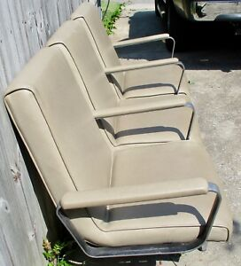 Vtg Well Made Industrial 3 Seater Salon Office Reception Waiting Room Chairs