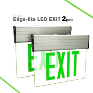 2 Pack Etoplighting Led Translucent Emergency Exit Light Sign Edge Lit