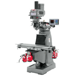 Jet Jtm 4vs Mill 3 axis Acu rite 200s Dro X y Axis Powerfeeds And Draw Bar