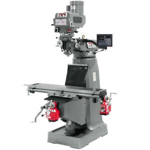 Jet Jtm 4vs 1 Mill With Newall Dp700 Dro X y axis Powerfeeds And 6 Riser Block