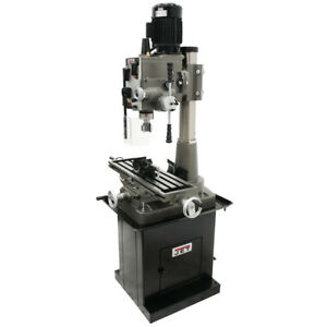 Jet 351153 1 1 2 inch Square Column Mill drill W Downfeed And 2 axis X axis Dro