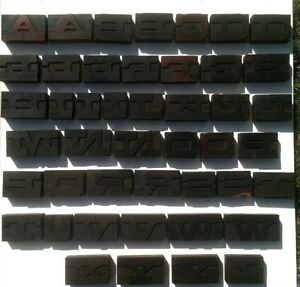 Alphabet Complete Vintage Wide Letter 45pc Letterpress Print Block Printer s Cut