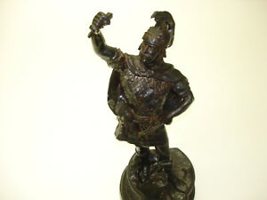 1 Pcs Antique Cast Iron Statue Old Soldiers Standing Ready To Fight Beautiful 4