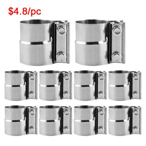 10pcs 2 5 Stainless Lap Joint Exhaust Band Clamp For Catback Muffler Downpipe