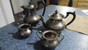 Antique Set Of 4 Mh Co Silverplate Teapot Coffee Pot Sugar Creamer Set Epgs
