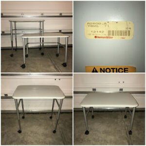 2x Herman Miller Medical Adjustable Desk Formcoat White Everywhere Rolling Table