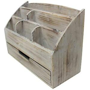 Vintage Rustic Wooden Office Desk Organizer Mail Rack For Desktop Tabletop