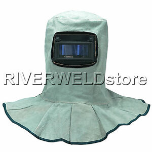 Leather Welding Hood Helmet With Autodark Filter Lens Welding Safety Face Shield