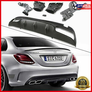 C63 Amg Rear Bumper Diffuser Exhaust Muffler Tips For Mercedes C W205 2014 19