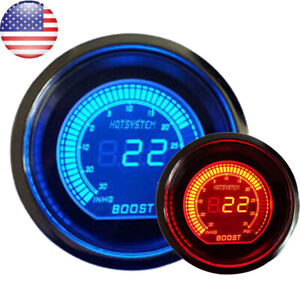 52mm Digital Evo Gauge Boost Vacuum Turbo Meter Blue Red Smoke Led Psi Us Sales