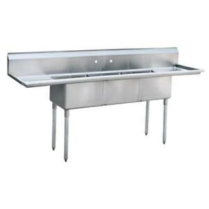 Commercial 90 3 compartment Stainless Steel Sink 3 Bay Commercial Sink Nsf