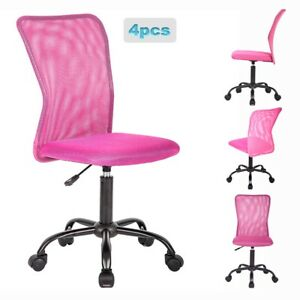 4 Bestoffice Pink Mesh Office Chair Computer Mid back Task Swivel Seat Ergonom