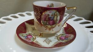 Vintage Royal Sealy China Teacup And Saucer With 3 Gold Feet
