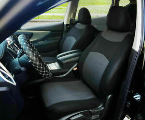 2 Tone Black Charcoal Cloth Fabric Two Front Car Seat Cover Universal Fit 16001