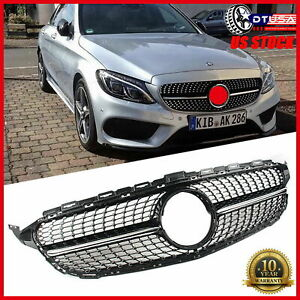 C63 Amg Diamond Grill Grille For Mercedes Benz W205 C200 C300 14 18