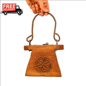 1900 S Indian Antique Hand Carved Wooden Lanterns Oil Container Vintage 7068