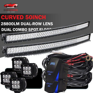 Curved 50 Inch 576w Led Light Bar Driving Lamp Truck Spot Flood Offroad 52 54