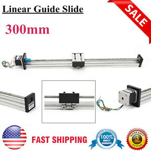 300mm Travel Linear Sliding Guide Slide W Stepper Motor 0 1mm Accuracy 12v Usa