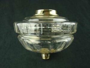 Hinks Victorian Lge Clear Glass Oil Lamp Font Facet Decor Bayonet Fit Collar