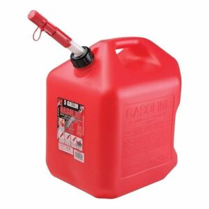 2 Ea Midwest 5600 5 Gallon Red Poly Gas Gasoline Fuel Cans Spill Proof Spouts