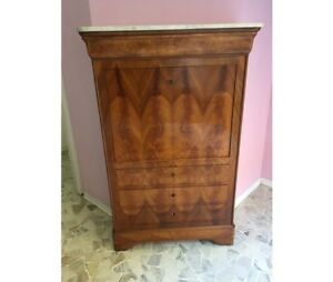Antique Louis Philippe Secretaire In Walnut And Walnut Feather