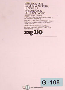Graziano Sag 210 Lathe Operations Installation And Parts Manual 1977