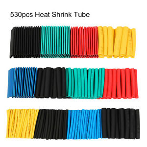530pc Heat Shrink Tubing Assorted Wrap Wire Cable Tube 2 1 Sleeve Kit Polyolefin