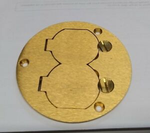 2 gang Round Floor Box Cover Brass Hubbell S3925