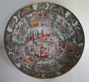 Large Antique Chinese Rose Medallion Punch Bowl Figural Scenes Gilt 14 25