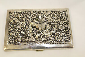 Vintage Silver Business Card Case Calling Card Case Bird Flowers 3d Punch Work