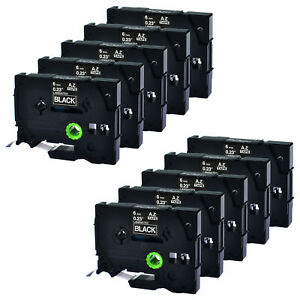 10pk Laminated White On Black Tz 315 Tze315 Label Tape For Brother P touch Gl100