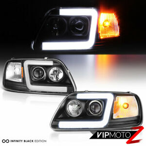 97 03 Ford F150 Neon Tube Led Drl U Bar Black Projector Headlight Signal Lamp