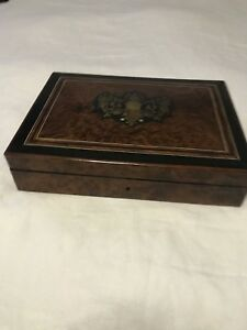 Antique Napoleaon Iii French Jewelry Box Boull Inlay Decoration On Top
