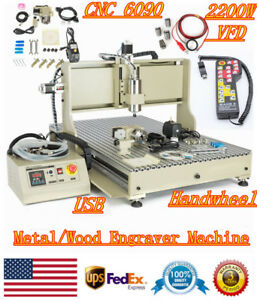 Usb 2 2kw Cnc 6090 Router 4axis Metal Wood Engraver Machine With Handwheels Vfd